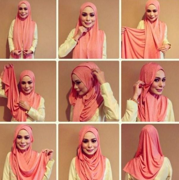Tutorial hijab pashmina berbahan kaos simple