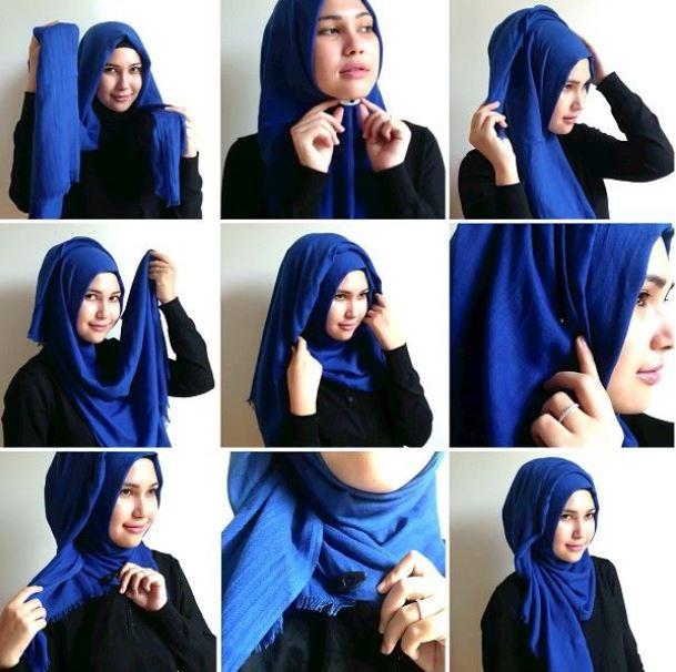 Tutorial hijab pashmina berbahan katun