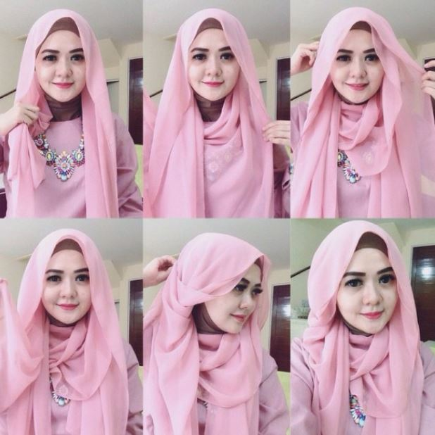 Tutorial hijab pashmina berbahan tile stretch