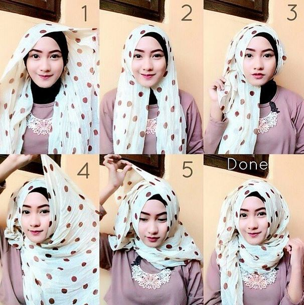Tutorial hijab pashmina bermotif