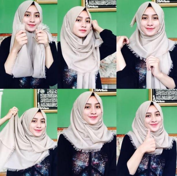 tutorial hijab pashmina segiempat